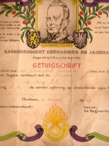 1953 Getuigschrift Garderegiment JCdR k