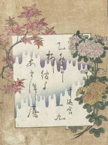 Gedicht met herfstbloemen, Kitagawa Utamaro, Jippensha Ikku, 1804; collectie Rijksmuseum