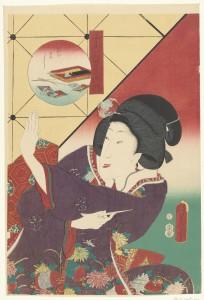 Vrouw in herfstkimono, Kunisada Utagawa, Hirokaya Kosuke, 1861; collectie Rijksmuseum